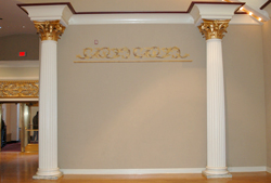 A photo of the decorative columns in the Music Hall Ballroom